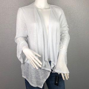 INC White Sheer Bell Sleeve Open Cardigan Size Med